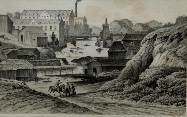 3. akerselva teckning från ca 1850 okänd upphovsman